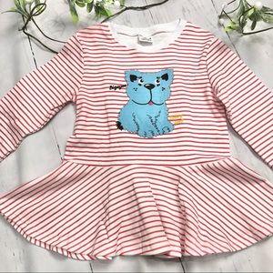 Girls Red White Striped Long Sleeve Shirt- 6T